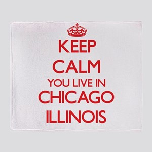 Keep calm you live in Chicago Illino Throw Blanket
