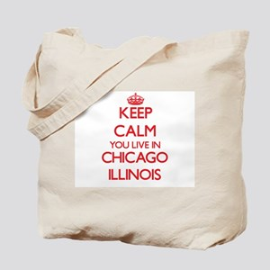 Keep calm you live in Chicago Illinois Tote Bag