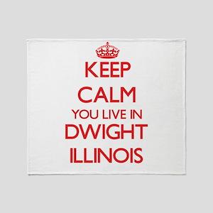 Keep calm you live in Dwight Illinoi Throw Blanket