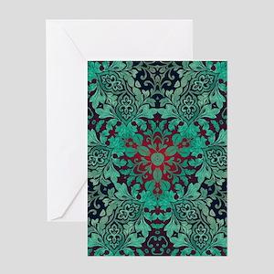 rustic bohemian green damask patter Greeting Cards