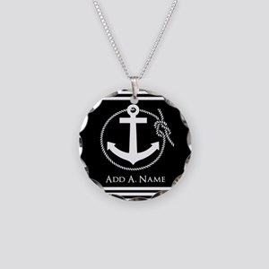 Black and White Nautical Rop Necklace Circle Charm