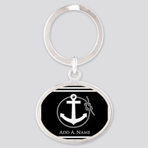 Black and White Nautical Rope and An Oval Keychain