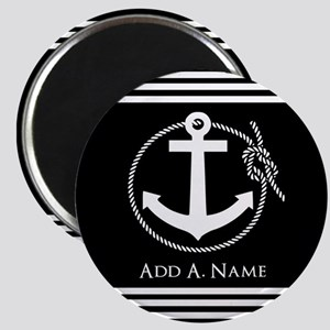 Black and White Nautical Rope and Anchor Magnet