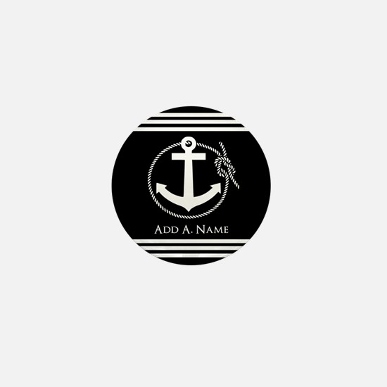 Black and White Nautical Rope and Anch Mini Button