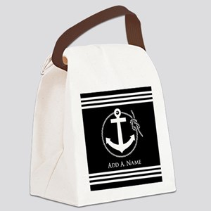 Black and White Nautical Rope and Canvas Lunch Bag
