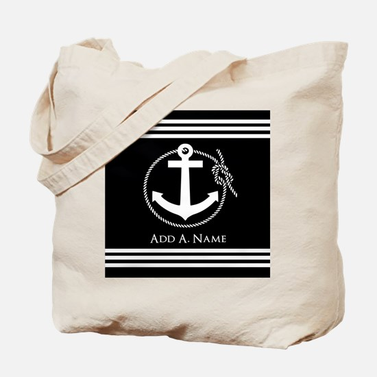 Black and White Nautical Rope and Anchor Tote Bag