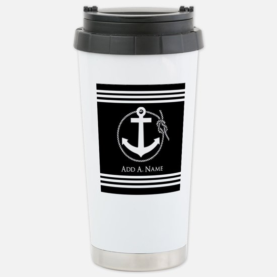 Black and White Nautica Stainless Steel Travel Mug