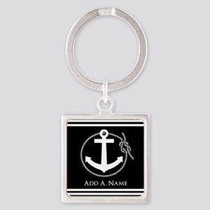 Black and White Nautical Rope and Square Keychain