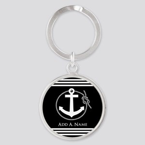 Black and White Nautical Rope and A Round Keychain