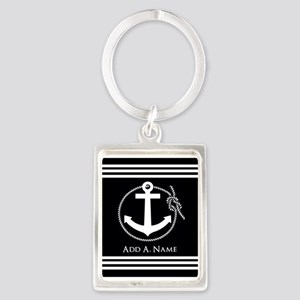 Black and White Nautical Rope an Portrait Keychain