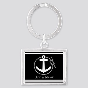 Black and White Nautical Rope a Landscape Keychain