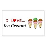 I Love Ice Cream Sticker (Rectangle 10 pk)