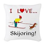 I Love Skijoring Woven Throw Pillow