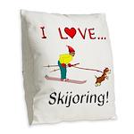I Love Skijoring Burlap Throw Pillow