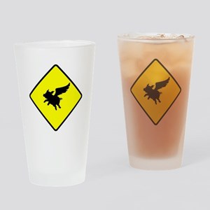 Caution: Flying Pigs Drinking Glass