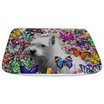 Violet White Westie Butterflies Bathmat