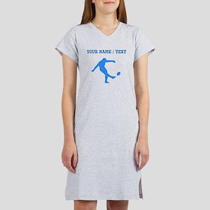 Custom Blue Rugby Kick Women's Nightshirt