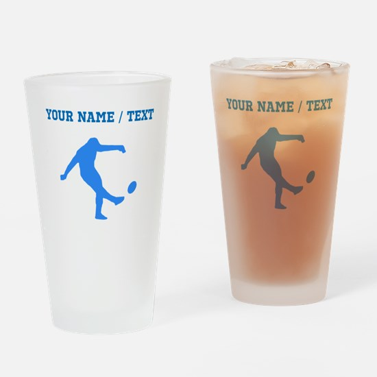 Custom Blue Rugby Kick Drinking Glass