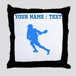 Custom Blue Lacrosse Player Throw Pillow