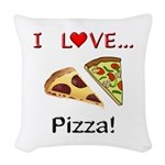I Love Pizza Woven Throw Pillow