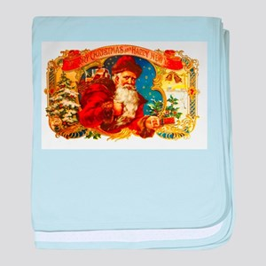 Santa Claus Christmas Cigar Label baby blanket