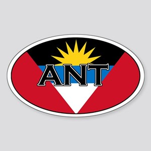 Antigua Flag with text Oval Sticker