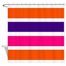 Neon orange, purple and hot pink horizontal stripe