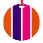 Orange, purple and pink stripes Ornament