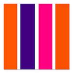 Orange, purple and pink stripes Square Car Magnet
