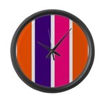 Orange, purple and pink stripes Large Wall Clock