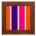 Orange, purple and pink stripes Framed Tile