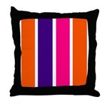 Orange, purple and pink stripes Throw Pillow