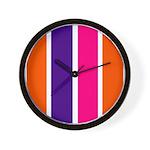 Orange, purple and pink stripes Wall Clock