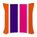 Orange, purple and pink stripes Woven Throw Pillow