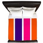 Orange, purple and pink stripes King Duvet