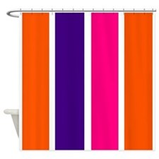 Orange, purple and pink stripes Shower Curtain