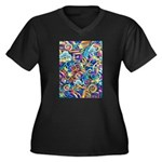 Curleys & Dr Women's Plus Size V-Neck Dark T-Shirt