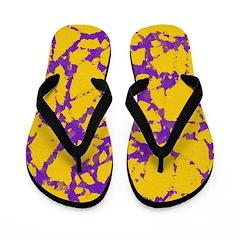 Gold and purple tie dye Flip Flops