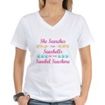 Sanibel shelling Women's V-Neck T-Shirt