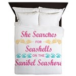 Sanibel shelling Queen Duvet