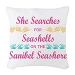 Sanibel shelling Woven Throw Pillow