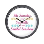 Sanibel shelling Wall Clock