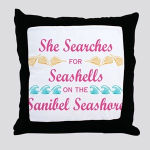 Sanibel shelling Throw Pillow