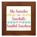 Sanibel shelling Framed Tile