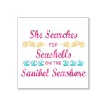 Sanibel shelling Square Sticker 3
