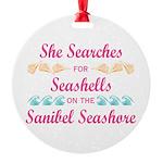 Sanibel shelling Round Ornament