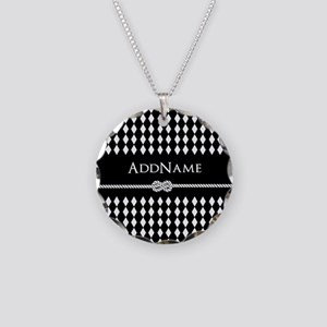 Black and White Argyle and R Necklace Circle Charm