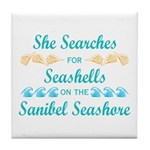 Sanibel shelling Tile Coaster