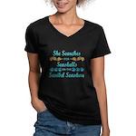 Sanibel shelling Women's V-Neck Dark T-Shirt