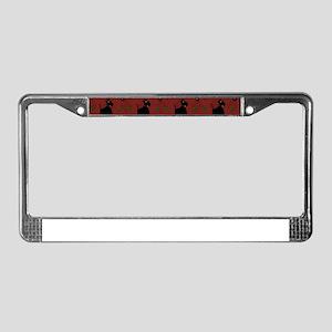 Scotties on Red Diamonds License Plate Frame